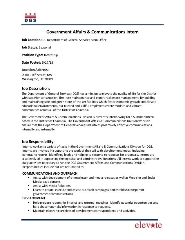 Government Affairs & Communications InternJob Location: DC Department of General Services Main OfficeJob Status: SeasonalP...