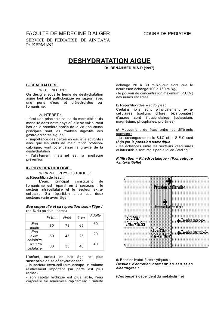 FACULTE DE MEDECINE D'ALGER                                                COURS DE PEDIATRIESERVICE DE PEDIATRIE DE AIN T...