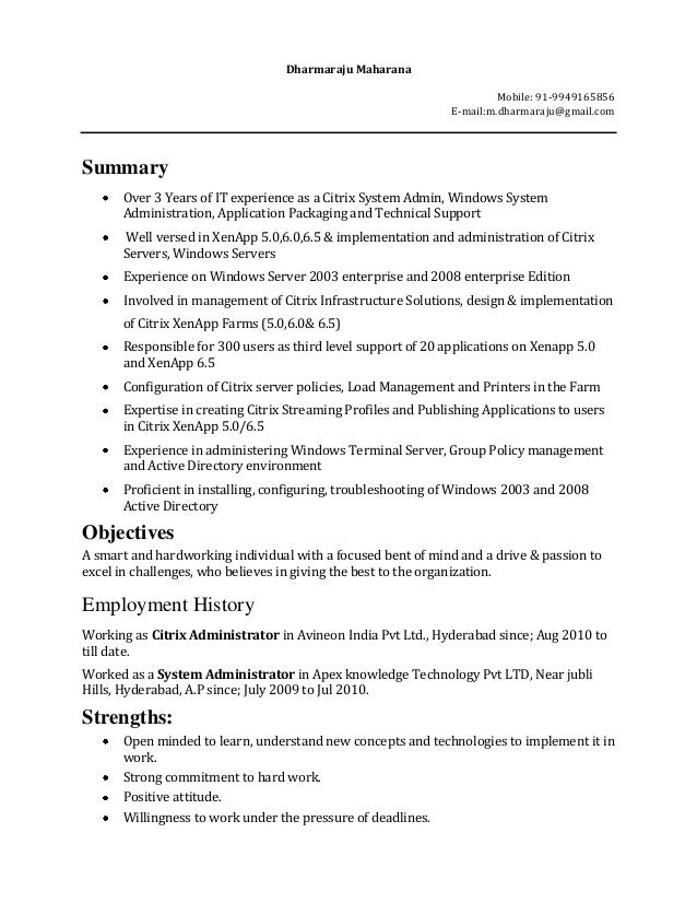 it experience resume