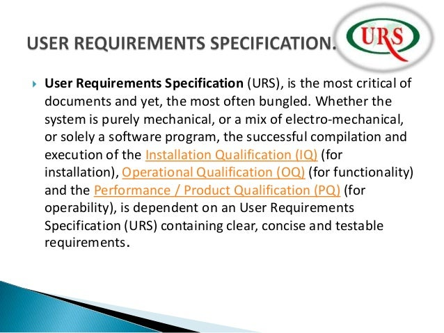 user requirement document template - concept of urs dq iq oq pq