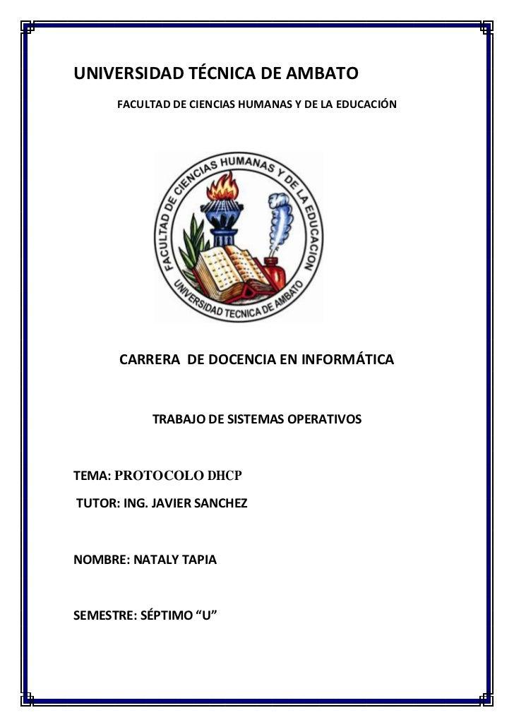 UNIVERSIDAD TÉCNICA DE AMBATO      FACULTAD DE CIENCIAS HUMANAS Y DE LA EDUCACIÓN      CARRERA DE DOCENCIA EN INFORMÁTICA ...
