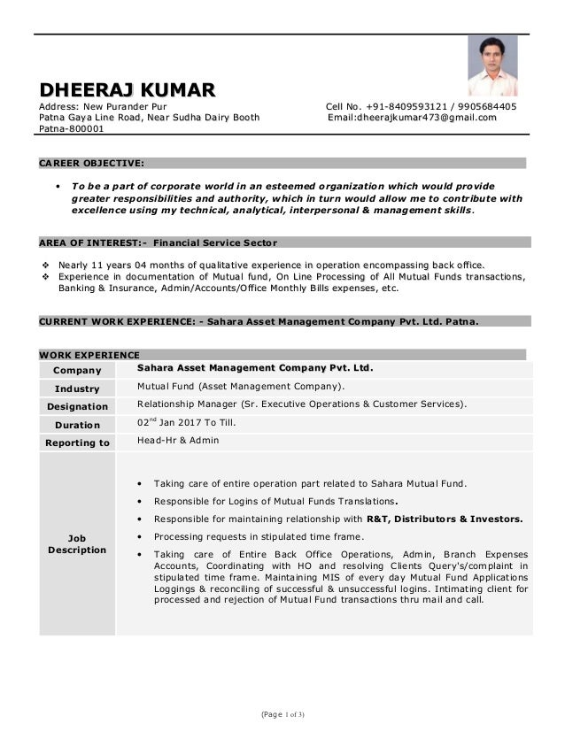 back office executive resume cv indianjobtalks