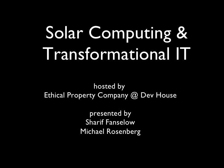 Aleutia: Transformational IT and Solar Computers