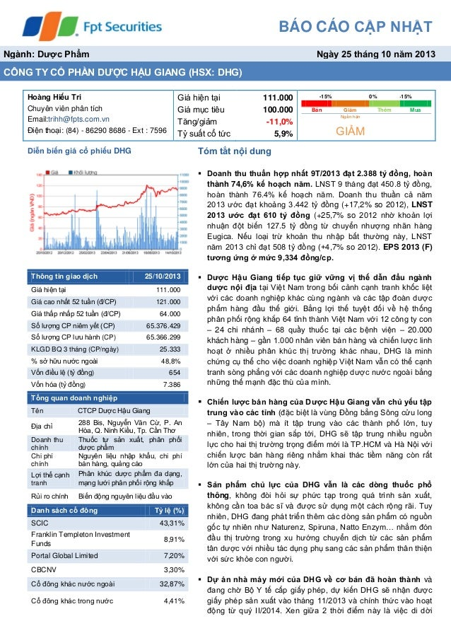 Báo cáo phân tích cổ phiếu dược hậu giang tháng 10/2013