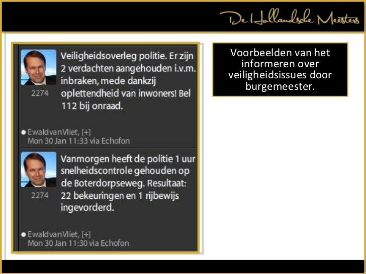 Voorbeelden van het informeren over veiligheidsissues door burgemeester.