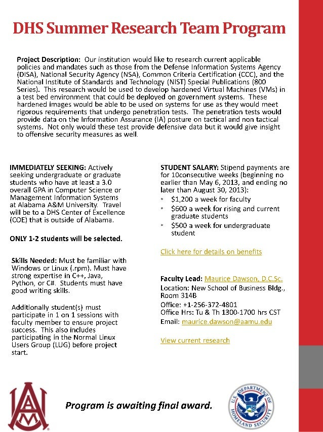 DHS Summer Research Team Program