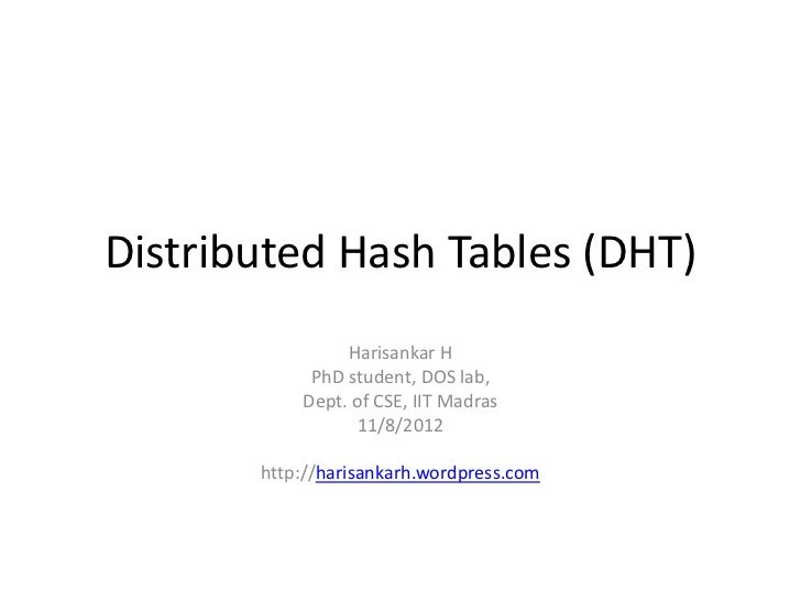 Distributed Hash Tables (DHT)                Harisankar H            PhD student, DOS lab,           Dept. of CSE, IIT Mad...