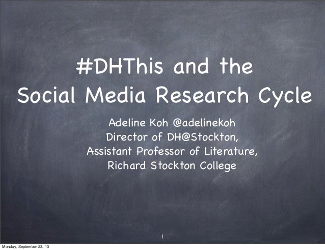 #DHThis and the Social Media Research Cycle Adeline Koh @adelinekoh Director of DH@Stockton, Assistant Professor of Litera...