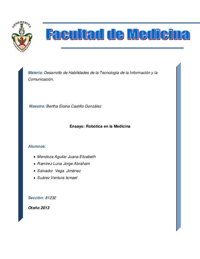 Portada  Materia: Desarrollo de Habilidades de la Tecnología de la Información y la Comunicación.  Maestra: Bertha Eloina ...