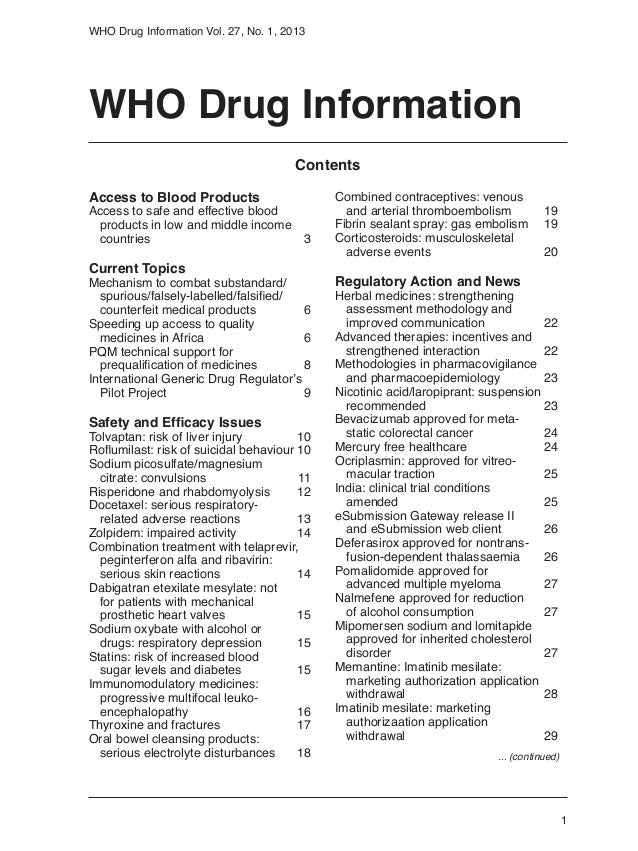 1WHO Drug Information Vol. 27, No. 1, 2013WHO Drug InformationAccess to Blood ProductsAccess to safe and effective blood	 ...