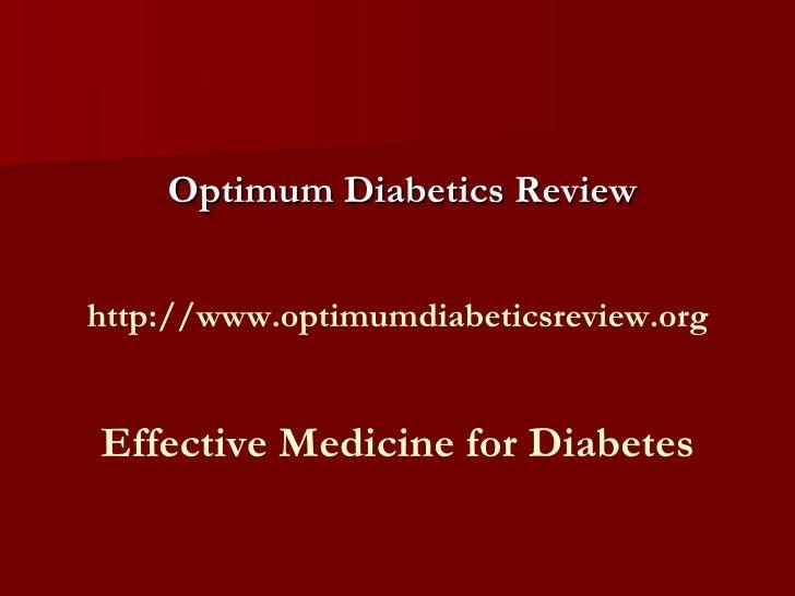 Optimum Diabetics:Effective Medicine for Diabetes