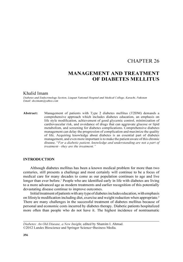 CHAPTER 26MANAGEMENT AND TREATMENTOF DIABETES MELLITUSKhalid ImamDiabetes and Endocrinology Section, Liaquat National Hosp...