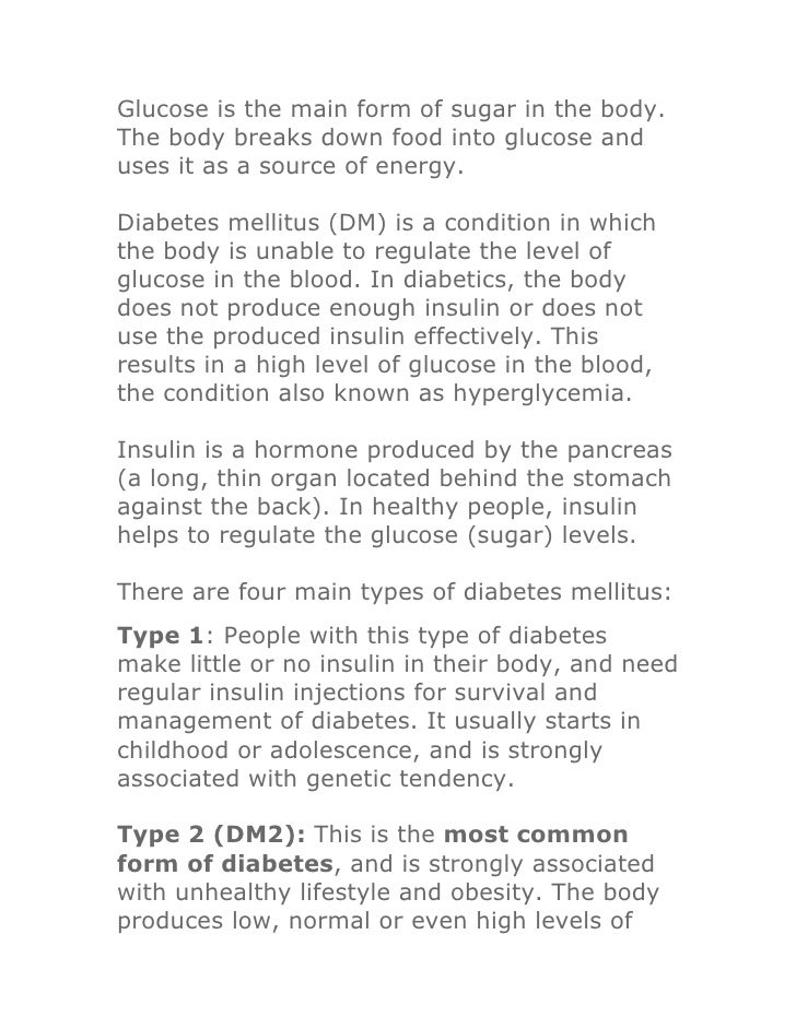 Glucose is the main form of sugar in the body. The body breaks down food into glucose and uses it as a source of energy.  ...