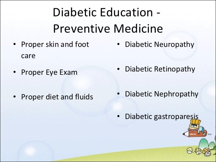 teaching plan for a diabetic patient Care guide for type 1 diabetes in adults (discharge care) includes: possible causes, signs and symptoms ask your provider to help you create a weight loss plan if you are overweight together you can set manageable weight loss goals.