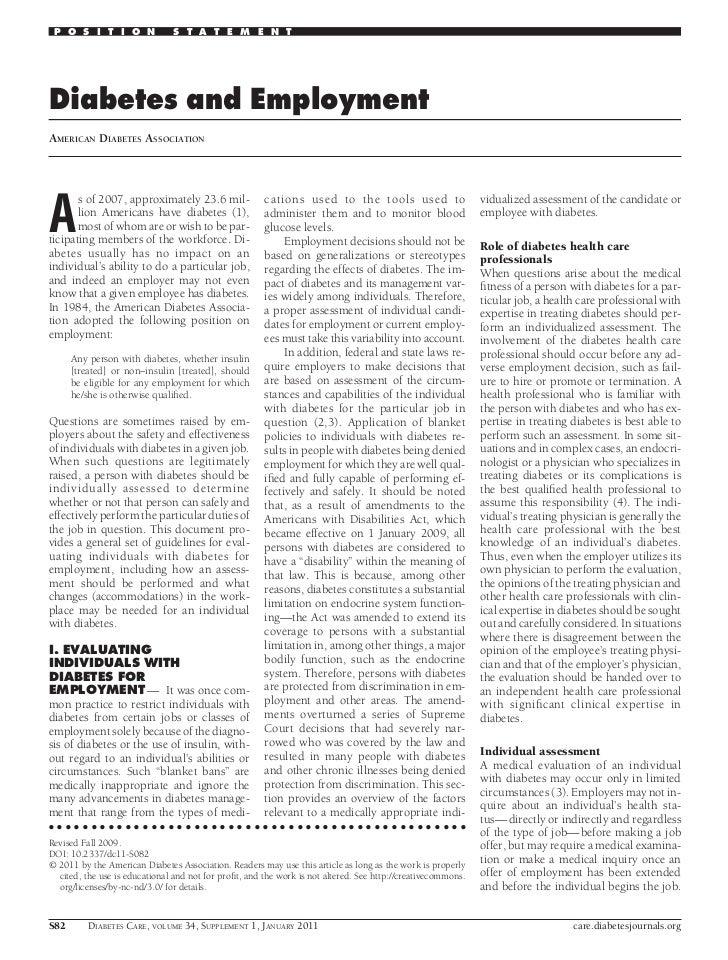 Diabetes and employement ada 2011
