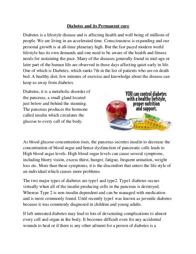 Diabetes and its permanent cure