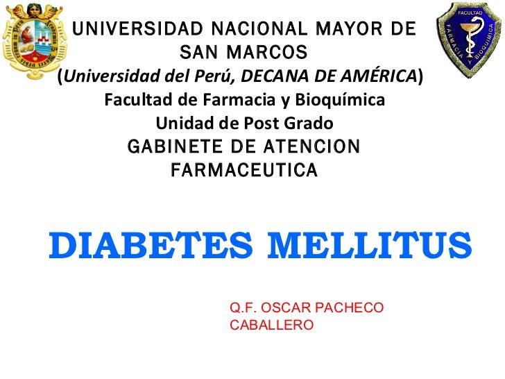 UNIVERSIDAD NACIONAL MAYOR DE SAN MARCOS ( Universidad del Perú, DECANA DE AMÉRICA )  Facultad de Farmacia y Bioquímica Un...