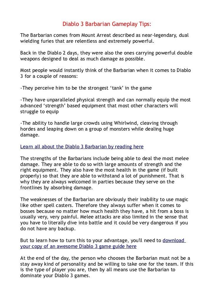 Diablo 3 Barbarian Gameplay Tips