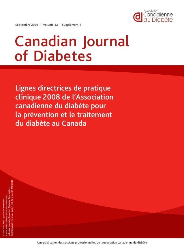 Une publication des sections professionnelles de l'Association canadienne du diabète PublicationMailAgreement#40063447 Can...