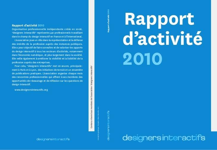Rapport d'activité de *designers interactifs*