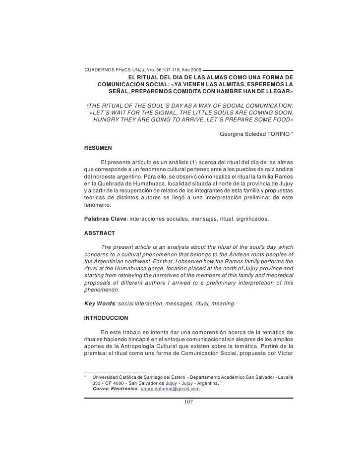 CUADERNOS FHyCS-UNJu, Nro. 36:107-118, Año 2009               EL RITUAL DEL DIA DE LAS ALMAS COMO UNA FORMA DE       COMUN...