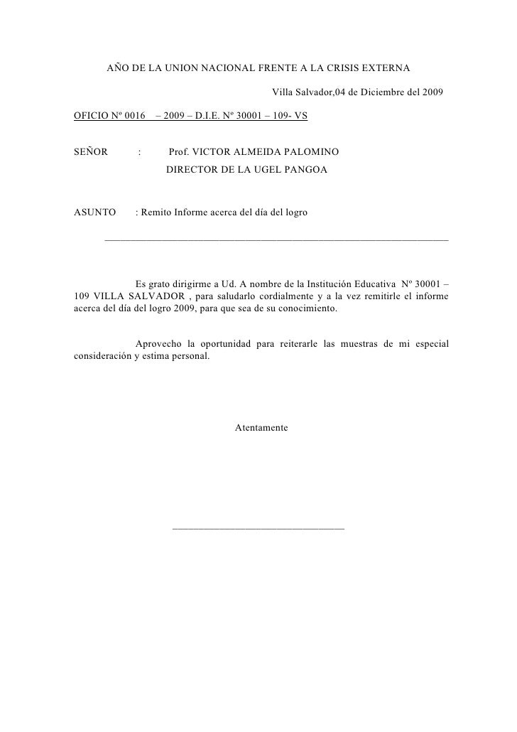 AÑO DE LA UNION NACIONAL FRENTE A LA CRISIS EXTERNA                                                Villa Salvador,04 de Di...