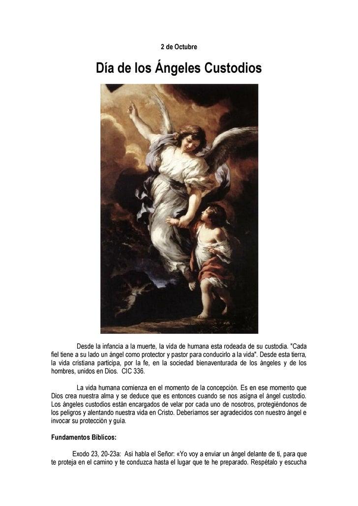 2 de Octubre                    Día de los Ángeles Custodios                 Desde la infancia a la muerte, la vida de hum...