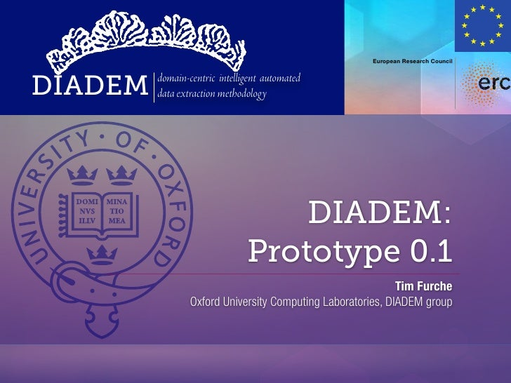 European Research CouncilDIADEM   domain-centric intelligent automated         data extraction methodology                ...