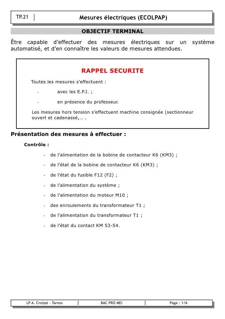 TP.21                           Mesures électriques (ECOLPAP)                                       OBJECTIF TERMINAL  Êtr...