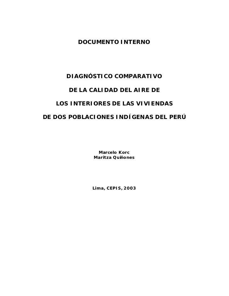 DOCUMENTO INTERNO      DIAGNÓSTICO COMPARATIVO      DE LA CALIDAD DEL AIRE DE   LOS INTERIORES DE LAS VIVIENDASDE DOS POBL...