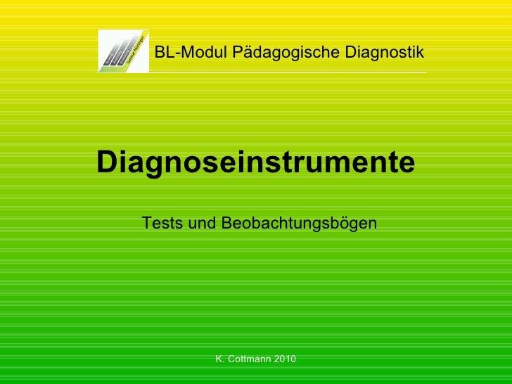 Diagnoseinstrumente BL-Modul Pädagogische Diagnostik Tests und Beobachtungsbögen