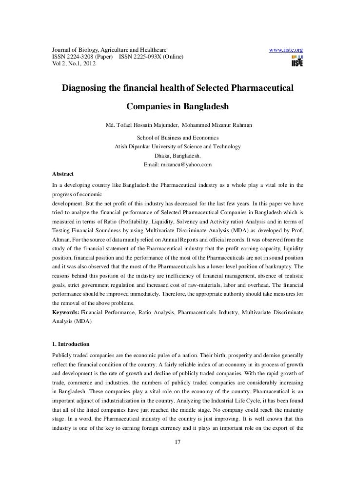 Diagnosing the financial health of selected pharmaceutical companies in bangladesh