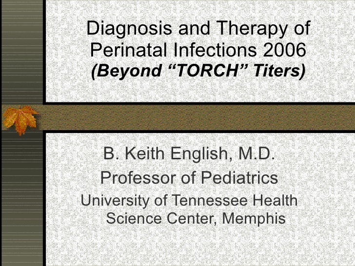 "Diagnosis and Therapy of Perinatal Infections 2006  (Beyond ""TORCH"" Titers) B. Keith English, M.D. Professor of Pediatrics..."
