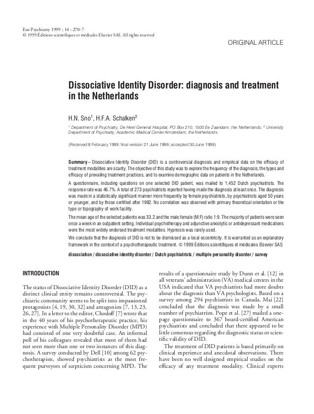 Eur Psychiatry 1999 ; 14 : 270-7       ´© 1999 Editions scientifiques et médicales Elsevier SAS. All rights reserved       ...