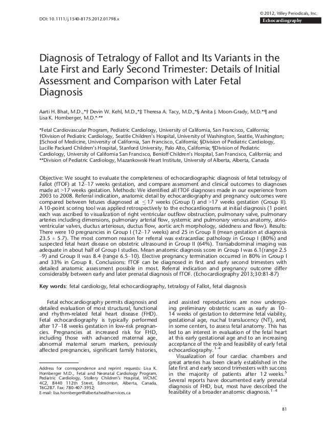 Diagnosis of Tetralogy of Fallot and Its Variants in the Late First and Early Second Trimester: Details of Initial Assessm...
