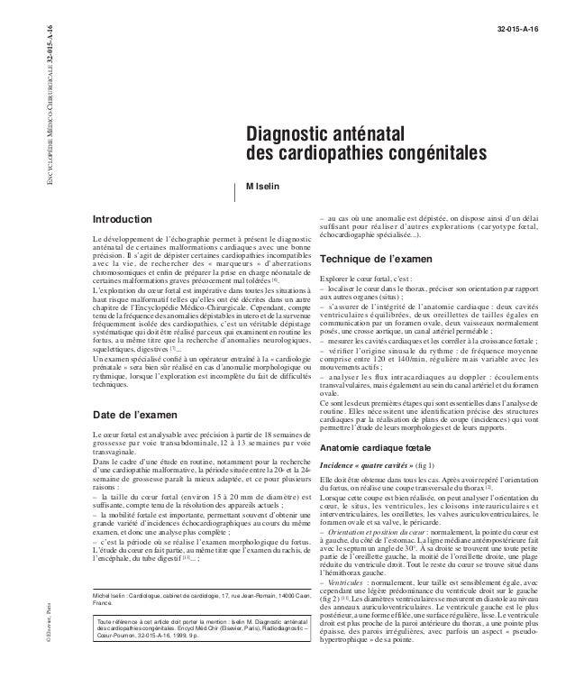 Diagnostic anténatal  des cardiopathies congénitales  M Iselin  Introduction  Le développement de l'échographie permet à p...