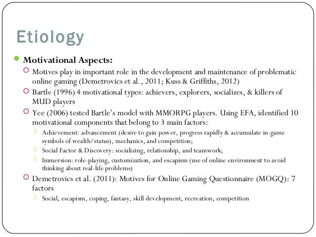 online role playing game motivational factors School of engineering and digital arts  in massively multi-player online role-playing  2017, potential motivational factors of technology usage.