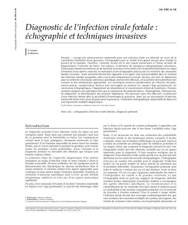 Diagnostic de l'infection virale foetale :  échographie et techniques invasives  P Loquet  D Markov  Résumé. – Lorsqu'une ...