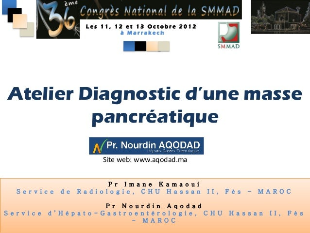 Les 11, 12 et 13 Octobre 2012                                      à Marrakech Atelier Diagnostic d'une masse          pan...