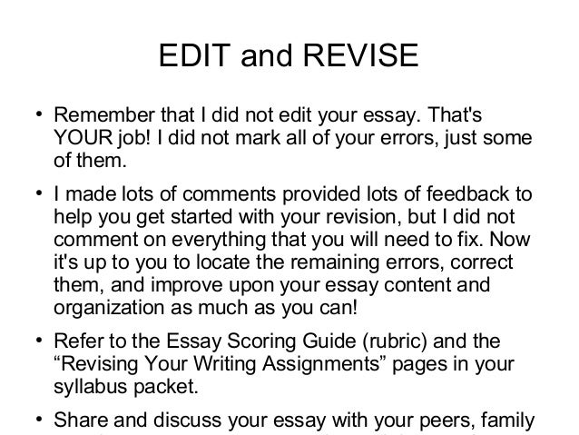 Revising descriptive essay