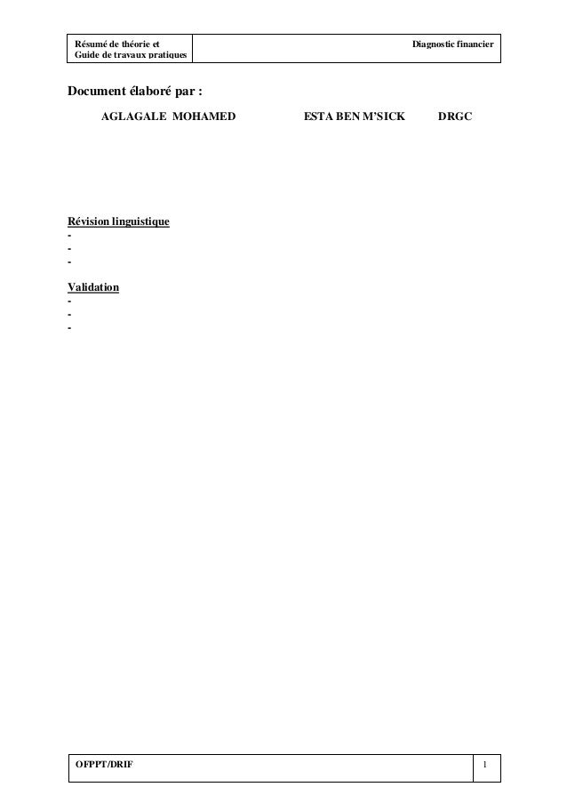 Résumé de théorie et Diagnostic financier Guide de travaux pratiques OFPPT/DRIF 1 Document élaboré par : AGLAGALE MOHAMED ...
