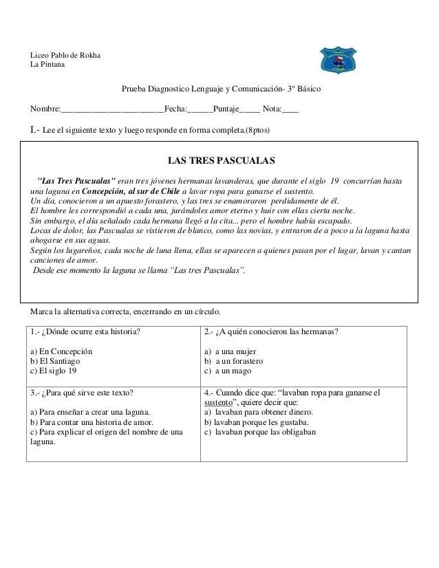 Liceo Pablo de Rokha La Pintana Prueba Diagnostico Lenguaje y Comunicación- 3° Básico Nombre:________________________Fecha...
