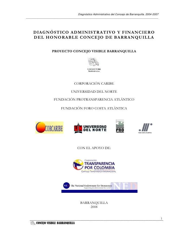 Diagnóstico Administrativo del Concejo de Barranquilla. 2004-2007 ________________________________________________________...