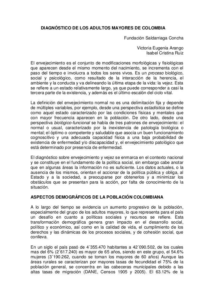 DIAGNÓSTICO DE LOS ADULTOS MAYORES DE COLOMBIA                                                 Fundación Saldarriaga Conch...