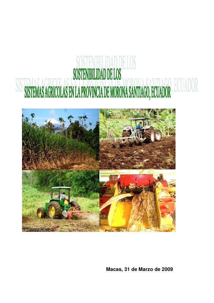 Diagnostico agro productivo, provincia de morona  santiago, ecuador