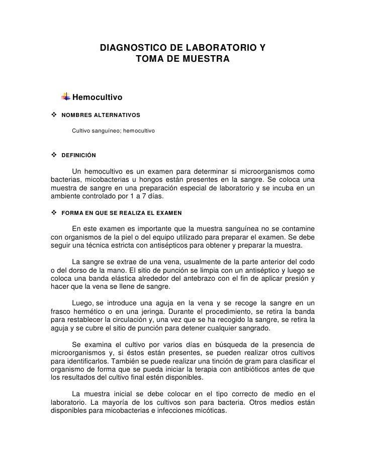 DIAGNOSTICO DE LABORATORIO Y                      TOMA DE MUESTRA      Hemocultivo NOMBRES ALTERNATIVOS      Cultivo sang...