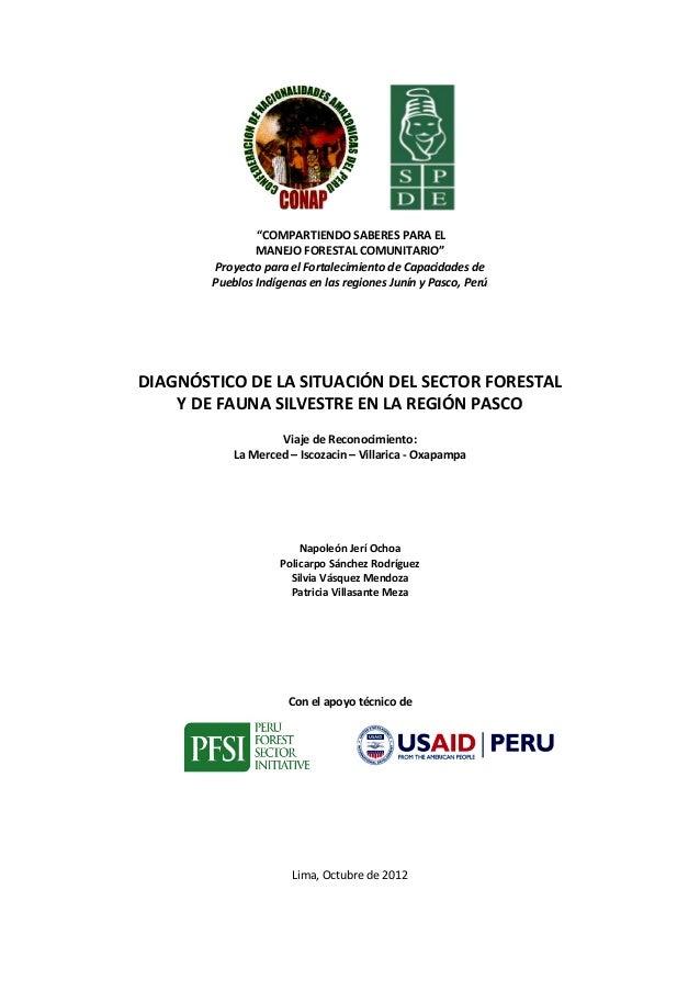 Diagnostico de la situacion del sector forestal y de fauna silvestre en la region pasco