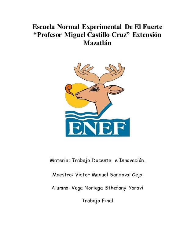 """Escuela Normal Experimental De El Fuerte """"Profesor Miguel Castillo Cruz"""" Extensión Mazatlán Materia: Trabajo Docente e Inn..."""