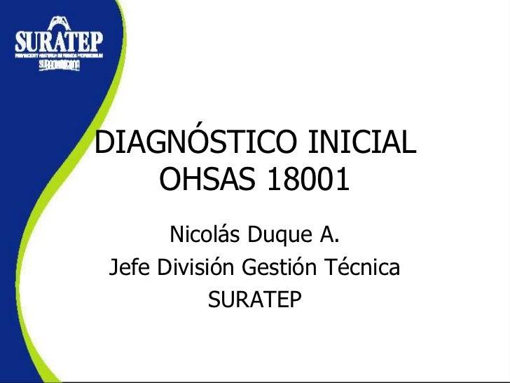 DIAGNÓSTICO INICIAL    OHSAS 18001      Nicolás Duque A.Jefe División Gestión Técnica           SURATEP