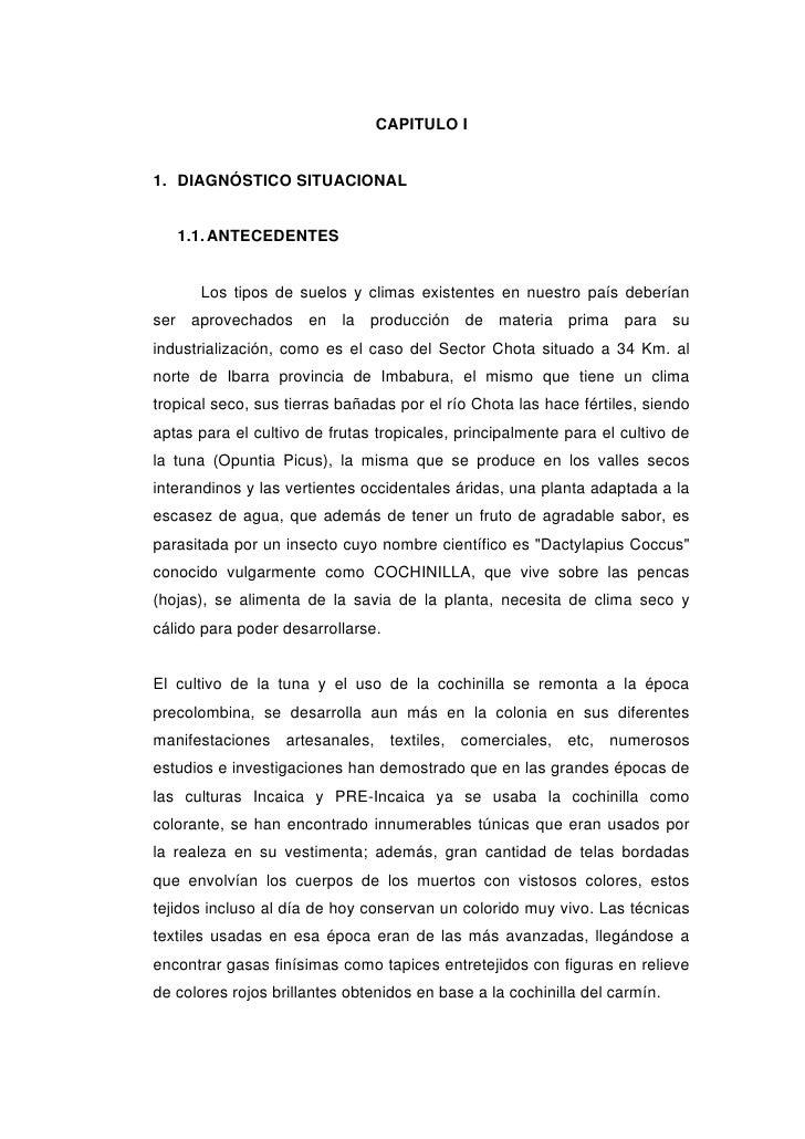 CAPITULO I1. DIAGNÓSTICO SITUACIONAL   1.1. ANTECEDENTES      Los tipos de suelos y climas existentes en nuestro país debe...
